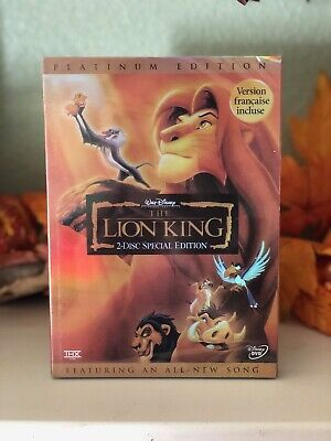 The Lion King DVD Platinum Edition 2 Disc Slipcover Sealed Brand New Free Ship