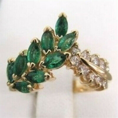 18K Yellow Gold Plated Emerald Ring Leaves Women White Topaz Jewelry Wedding