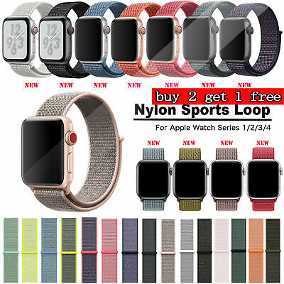38/42/40/44mm Nylon Sport Loop Watch Band Strap for Apple iWatch Series 4 3 2 FR