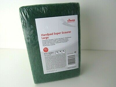 "New Vileda Handpad Super Scourer Large 9x6"" Kitchen Cleaning Catering (10 pack)"