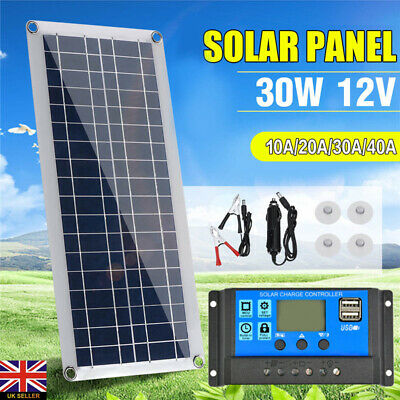30W 12V Dual USB Flexible Solar Panel Battery Charger Kit Car Boat w/ Controller