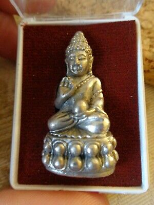 Old Thai Silver  Gilt Kring Throned  Buddha  Amulet Charm  Temple  Figure