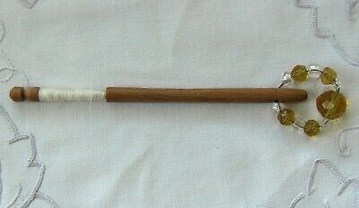 Antique lace making bobbins carved wood and spangled beads