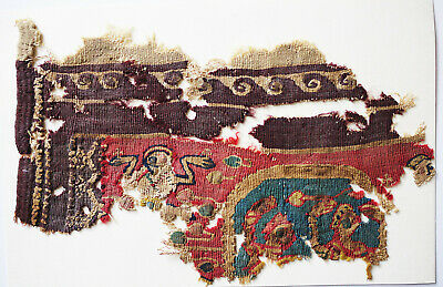 Ancient Coptic Textile Fragment - Animals Pattern, Emblem, Egypt, Christian Arts