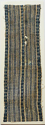 13-14C Antique Textile Fragment - Dyeing and Weaving, Indigo, Stripe Pattern