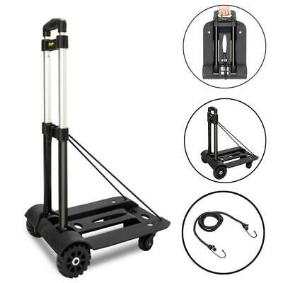 Luggage Cart Folding Dolly Push Truck Hand Collapsible Trolley W/ 4pcs Wheels