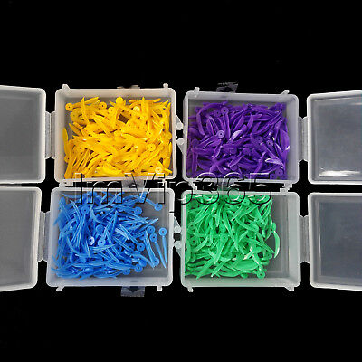 100 PCS Dental Plastic Poly-Wedges with Holes Round Stern 4 Colors 4 Sizes VIP