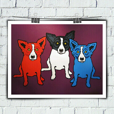 Home Wall Art Decor Animal Cartoon Blue Dog Art Painting HD Print Canvas 12x16