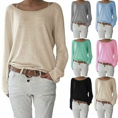 Womens Long Sleeve Baggy Sweatshirts Pullover Tops Jumper Autumn Casual Knitwear