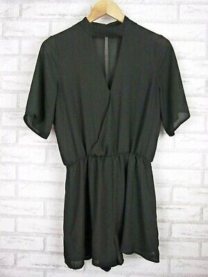 Sportsgirl Playsuit V-Neck Black Sz 8