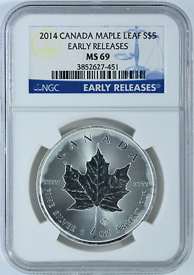 2014 Canada Maple Early Releases 1 oz. Silver Coin NGC MS69 Milky