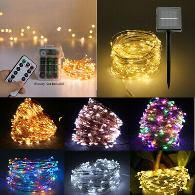 50/100/200 LED Fairy String Lights Battery Solar Powered Copper Wire Outdoor UK