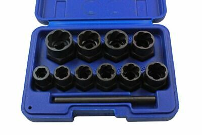 US PRO Tools 11pc Bolt Nut Extractor Set, Damaged Heads Studs Twist Sockets 2656