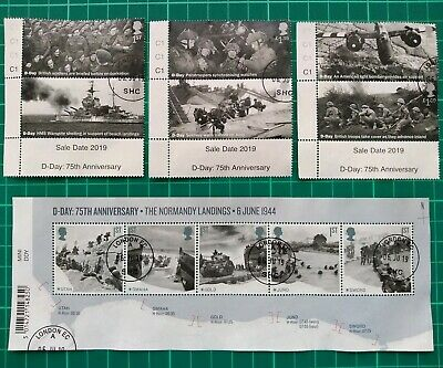 2019 75th Anniversary D-Day  Set of 6 USED AND Miniature Sheet USED