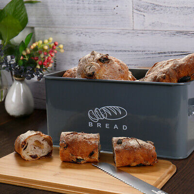 Bread Box Metal Bin Kitchen Container Cake Keeper Food Storage  Bamboo Lids Gray