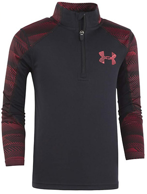 NWT Under Armour Childrens Boys Speed Lines 1/4 Zip Shirt Black/Red Sz 4 $34.99