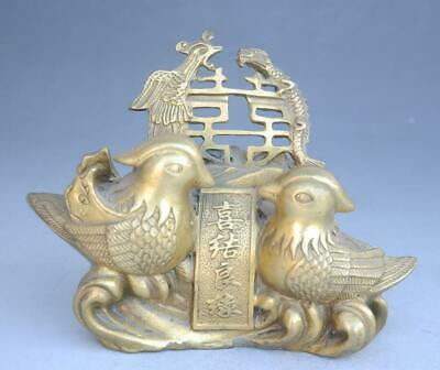 Chinese old Fengshui Copper carved Dragon Phoenix Mandarin duck Sculpture e01