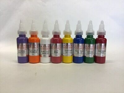 AQUEOUS TATTOO INK VIOLET ORANGE PINK YELLOW BLUE GREEN RED 15 / 30ml Set B