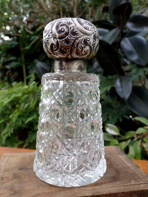 VINTAGE Chic Cut GLASS Antique HATPIN HOLDER w STERLING Silver TOP 13.5cm Vanity