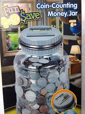 Fun 2 Save Kids Learn Money Play Coin Pennies Counting Jar Piggy Storage Bank