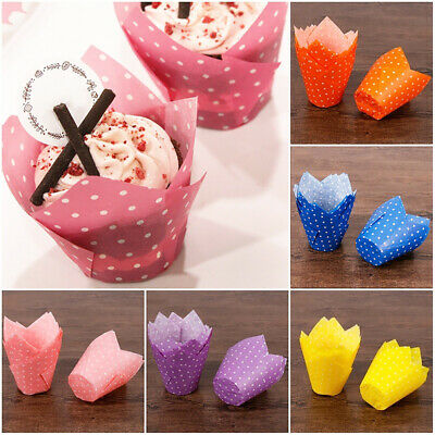 50Pcs Dots High Temperature Resistant Cake Cups Tulip Muffin Case Liners Opulent