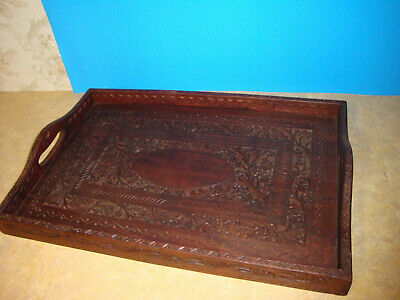 Intricate Walnut Wood hand carved Serving Tray estate auction detail Handcarved