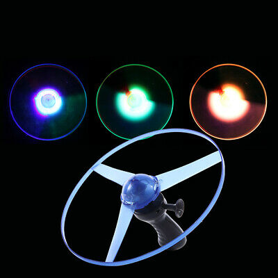 Electronic Led Light Up Spinning Flying Disc Saucer Pull String Kids Toy Opulent