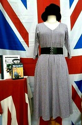 Retro Vintage 1940`s Wartime Land girl style ditsy print tea day dress size 10
