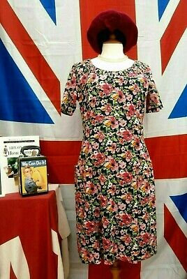 Vintage 1940`s wartime style Land girl ditsy floral tea / day dress size 12