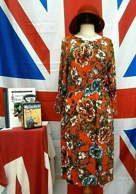 Vintage 1940`s wartime style Land girl tea / day dress size 12