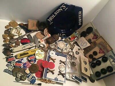 Vintage Junk Drawer Wholesale Lot Marbles Coins Pins Tokens Advertising (120)+