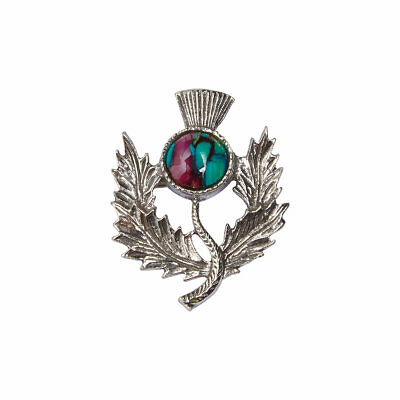 Heathergems Pewter Thistle Brooch - Made in Scotland - Colour Variable CHB1