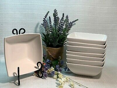 """Food Network Square White Soup/Cereal Bowl,6 1/4"""" x 2 3/4"""", Set/8,VERY NEAR MINT"""