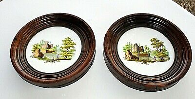 """2 Antique Hand Painted Art Country Castle Scene Tile Delft Picture Frame 13"""" dia"""