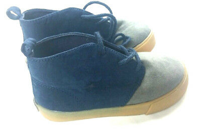 Baby Gap Toddler Boy's High Top Shoes Navy/Gray Suede Lace Up Size 9 New