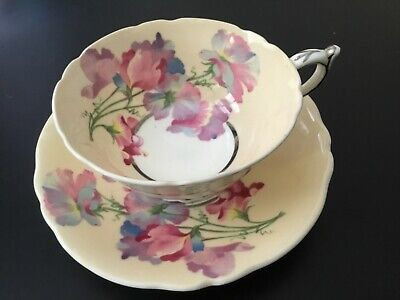 Paragon Wide Footed Cup Saucer Set~Large Poppy Floral Center~Off White~Pink~Silv