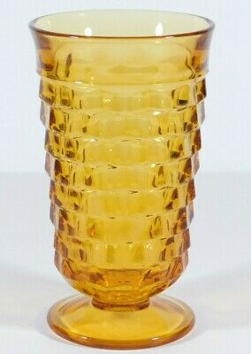 Indiana Colony Amber Glass Whitehall Cubist Footed Tumbler 14oz