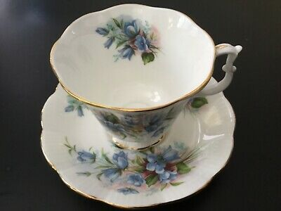 Royal Albert Footed Cup Saucer~Small Floral Blue Buds Sprays~Green~White~Gold