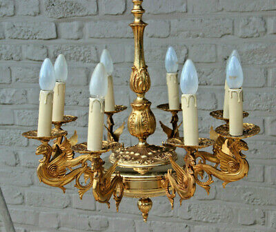 Huge French Gothic Dragons Castle Bronze brass chandelier 8 arms