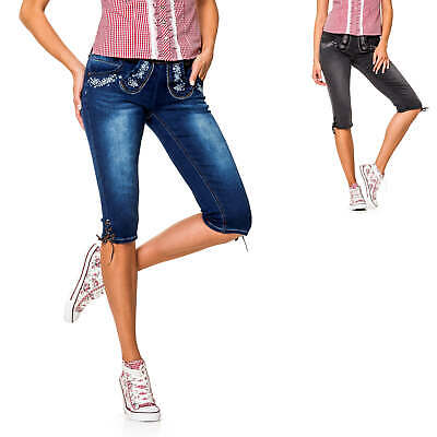 Hailys Ladies Traditional Jeans Capri Pants Leather Oktoberfest Wiesn Casual