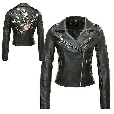 size 40 e8bec efaae DONNA GIACCA IN Similpelle Giacca Motociclista in pelle Blusa Patch Vendita%