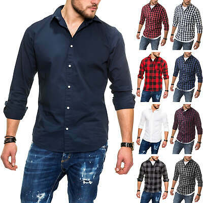 Jack & Jones Men's Shirt Long Sleeve Shirt Checked Plain Classic Streetwear Wow