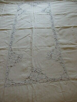"""Vintage LInen Tablecloth CutWork Embroidered Blue Flowers Tablecloth 96"""" x 68"""""""