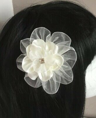 "Wedding Flowers Girl Ladies 3.5"" Ivory Flower Hair Clip Fascinator Satin Organza"