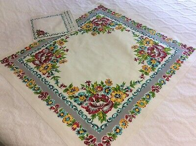 Vintage Linen Floral Card Table Tablecloth Table Topper and Napkins