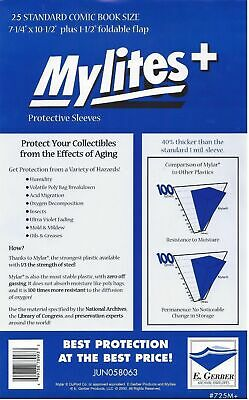 25 Mylites+ STANDARD SIZE  1.4-mil Mylar Comic Bag Sleeves 725M+ by E. Gerber