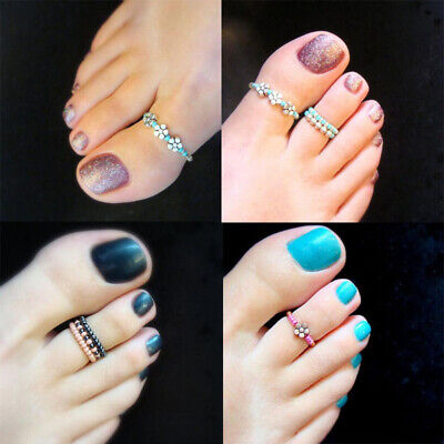 Women Beach Girl Celebrity Finger Rhinestone Barefoot Toe Ring Foot Jewelry