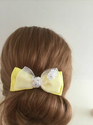"Wedding Flower Girls Schools 3.5"" Girls Yellow Hair Bow Clip & White Daisy"