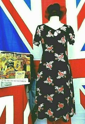 Vintage 1940`s wartime style Land girl floral tea / day dress size 8