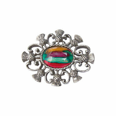 Heathergems Pewter Thistle Oval Brooch - Made in Scotland - Colour Variable CHB5